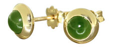 Ohrstecker Gold 585 mit Jade Cabochons - Goldohrstecker Jadestecker Ohrringe