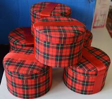 Lot 6 Gift BOXES Red PLAID Material FELT Hinge ROUND Ribbon Holiday GIFT Trinket