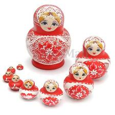 10Pcs Hand Painted Wooden Russian Stacking Doll Red Matryoshka Nesting Dolls