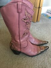 Ladies in Moda In Pelle Pink Leather Cowboy Boots Size 4