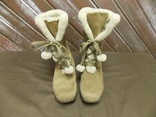 Sporto JOJO Snow Boots Suede Faux Fur Lined Wedge Heel Women's Tan Size 9.5 M
