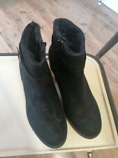 Womens Ankle Boots Ladies Faux Suede with Heel black boot Size UK 9