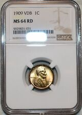 NGC MS-64 RD 1909-P VDB Lincoln Cent, Beautiful, Full-Red specimen.