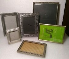 6 Vintage Brass Wood Metal Pewter Ornate Picture Frames Silver Tones Nice