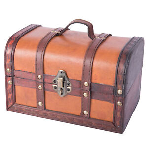 New Vintiquewise Decorative Wood Leather Treasure Box - Small Trunk Chest