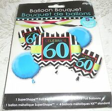 Anagram Foil Balloon Birthday Bouquet CELEBRATE 60 - Includes 5 Balloons