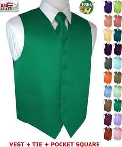 Men's Formal Satin Tuxedo Vest, Tie and Hankie Set. Wedding, Prom, Cruise, Dress