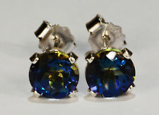 BEENJEWELED GENUINE NATURAL MINED MYSTIC BLUE TOPAZ EARRINGS~STERLING SILVER~6MM