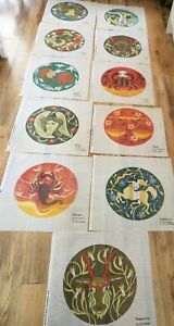 Tapestry Canvas Astrology Star Signs Celestial Horoscope Crewel Sewing Bundle