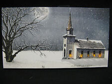 Church Lighted Canvas Wall Decor Sign Reglious Moon Night Snow Winter