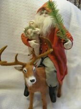 """Norma Decamp Santa Designed By Ragon House, Poseable with Real Fur 12"""" Reindeer"""