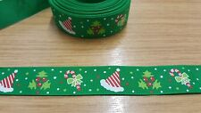 1m x 25mm SANTA HAT/HOLLY/CANDY CANE GREEN CHRISTMAS GROSGRAIN RIBBON - CRAFTS