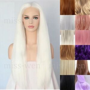 """24"""" Long Straight Lace Front Wig Heat Resistant Synthetic Hair Middle Part"""