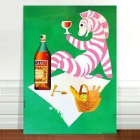 "Vintage Liquor Advertising Poster Art ~ CANVAS PRINT 36x24"" Cinzano Zebra green"