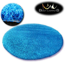 "QUALITY SHAGGY 5CM"" ROUND CARPETS 13 COLORS Feltback twist Bedroom RUGS ANY SIZE"