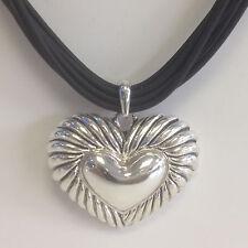 SILVER NECKLACE & EARRINGS SET  HEART PENDANT BLACK RUBBER CORD  FASHION JEWELRY
