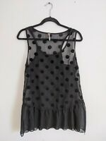 Free People Women's Black Velvet Polka Dot Sheer Tank Top Blouse L