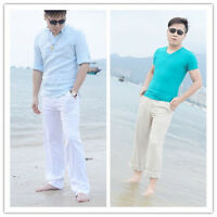 New Mens Linen Trousers Straight Loose Fit Pants Elastic Waist Casual Beach Pant