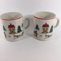 The Joy Of Christmas Jamestown China Coffee Mug Set Of Two. Winter Scene Painted