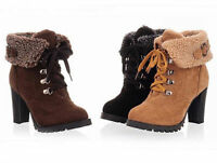 Womens Winter Warm Fur High Heel Shoes Platform Lace Up Ankle Boots Booties e017