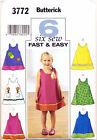BUTTERICK SEWING PATTERN 3772 GIRLS 4-6 FAST, EASY A-LINE DRESS & PINAFORE DRESS