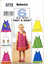 BUTTERICK SEWING PATTERN 3772 GIRLS 4-6 FAST, EASY A-LINE DRESS & PINAFORE DRESS