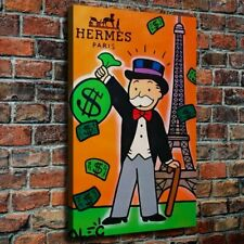 """24x16"""" Alec Monopoly """"HERMES PARIS"""" New HD print on canvas ready to hang on wall"""