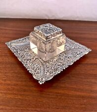 RARE A. JACOBI & CO. BALTIMORE STERLING SILVER REPOUSSE INKWELL & TRAY c.1870s