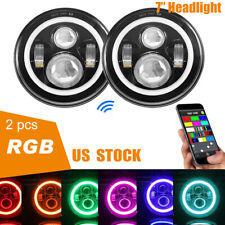 For Jeep Wrangler JK TJ LJ Halo RGB 7'' LED Headlights DRL Lights Combo KIT 2PCS