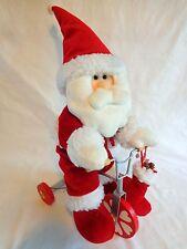 "SANTA CLAUS FIGURINE 14"" Red PLUSH ON TRICYCLE Wood Metal Christmas Decor"