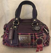 NEW Coach Poppy Luxey Tartan Satchel Purse Handbag 15884 pink purple plaid