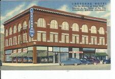 CC-267 CO, Colorado Springs, Cheyenne Hotel Linen Postcard Old Cars Colorado