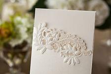 FLORAL EMBOSSED LASER CUT IVORY SHIMMER POCKET WEDDING INVITATIONS/MENU/OOS