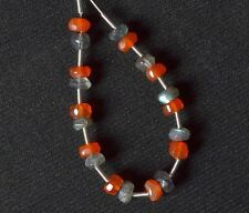 Labradorite and Carnelian Faceted Rondelle (3.5-4 mm diameter) 73-23