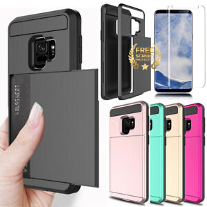 For Samsung Galaxy S9 S8 Plus Wallet Case Card Holder Case Free Screen Protector