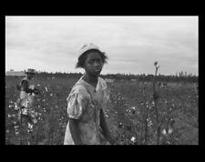 Black Cotton Picker PHOTO 1935 Great Depression, Arkansas Cotton Farm Girl