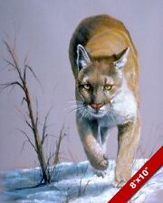 WILDCAT MOUNTAIN LION COUGAR PUMA IN SNOW ANIMAL PAINTING ART REAL CANVAS PRINT