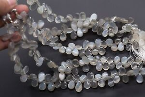 13-108 AAA+ Fine Moon Stone Pear Briolettes Faceted Beads 7x9-9x13mm 23cm Line