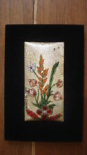 Plaque cuivre émaux d'Art de Limoges tableau bouquet champêtre signé feuille or.
