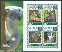 SOLOMON ISLANDS  2014 KOALAS SHEET MINT NH