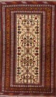 Geometric Tribal Gold/Rust Balouch Afghan Hand-Knotted Oriental 4'x6' Wool Rug