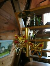 "Solid Brass Stained Glass Butterfly Wind Chime 19"" Long 4"" Butterfly Multi Color"