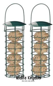 "2 x Heritage Wild Bird Hanging Fat Ball Feeder Garden Suet Feeders Metal 10"" ✔"