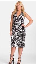 MYNT 1792 Black White Floral Print Stretch Knit Drape Wrap City Chic Dress 3X