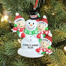 Snowmen Family of 3 Children Personalized Christmas Ornament Holiday Gift 2016