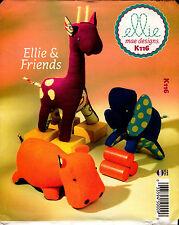 Kwik Sew Sewing Pattern K116 116 Ellie Mae Designs Friends Hippo Elephant Teddy