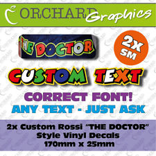 """2x Custom Vinyl Decal Stickers Rossi Style """"The Doctor"""" 46 Your Name Graphics SM"""