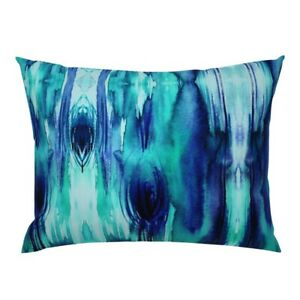 Blue Watercolor Woodgrain Abstract Wood Aqua Pillow Sham by Roostery