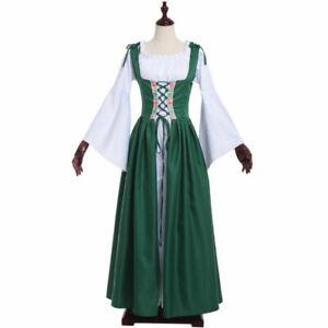 Women Boho Set Renaissance Medieval Irish Costume Over Dress & Cream Chemise Set
