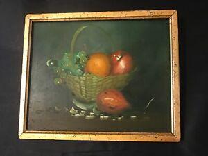 FAB! Antique Primitive Folk Art Still Life Oil Painting on Wood Board Signed